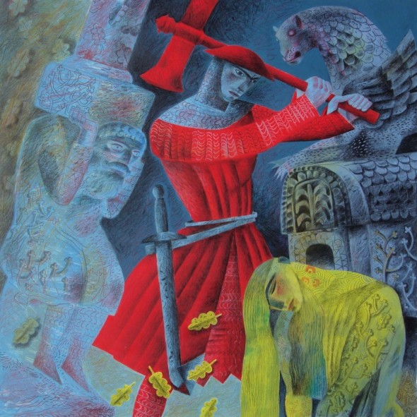'The Green Knight Bows to Gawain's Blow'. 2016. Pencil and gouache on board. Private Collection. © Clive Hicks-Jenkins